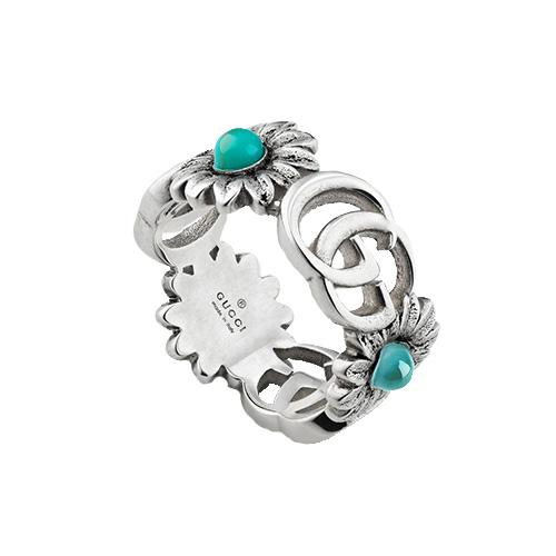 Серебряное кольцо Gucci GG Marmont с символами и цветами