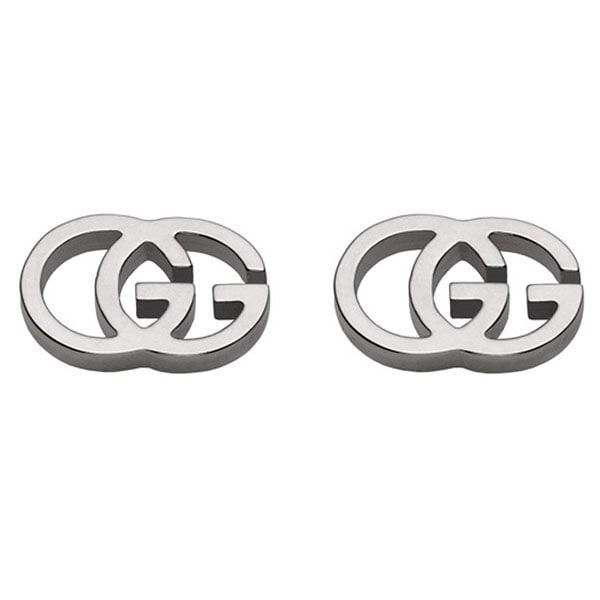 Серьги-гвоздики Gucci Running G из белого золота в форме двух сплетенных букв G
