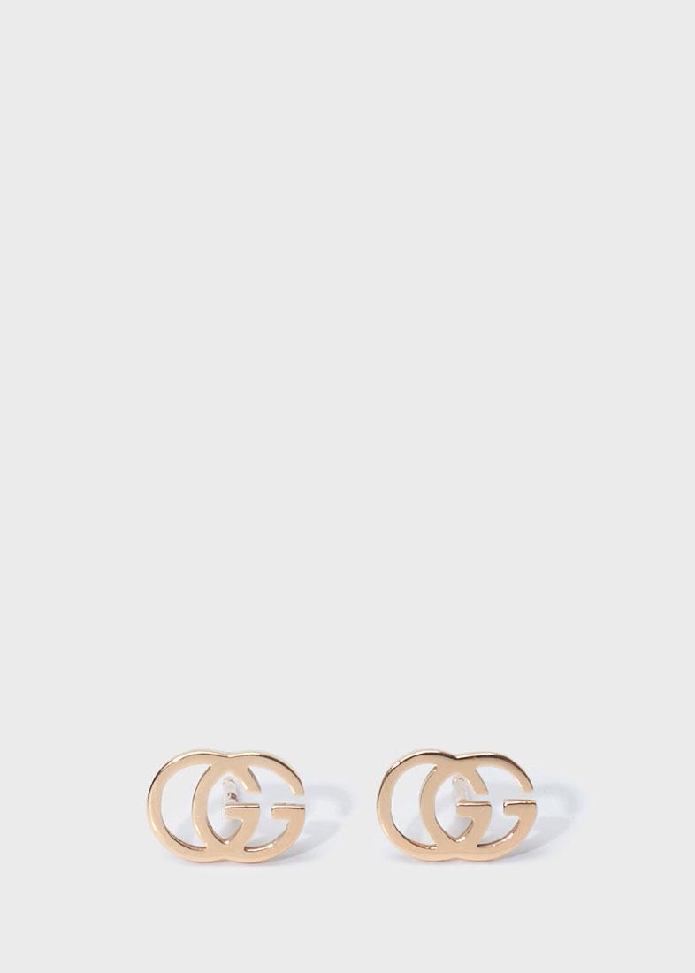 Серьги-гвоздики Gucci Running G из розового золота в форме двух сплетенных букв G