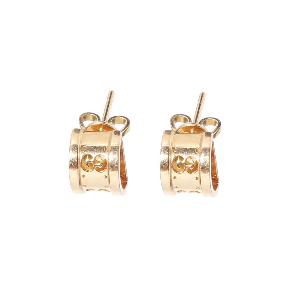 Полукруглые серьги-гвоздики Gucci Icon с перфорацией из желтого золота
