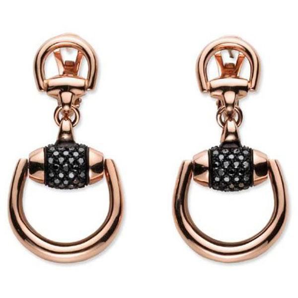 Крупные серьги-подвески Gucci Horsebit из розового золота бриллиантами и корундом