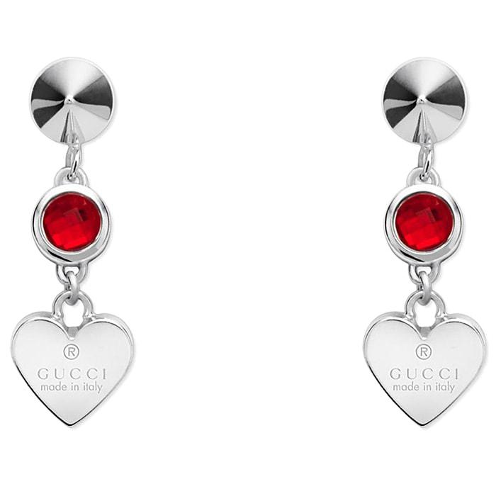 Серьги-подвески Gucci Trademark на застежках-гвоздиках с круглыми красными кристаллами