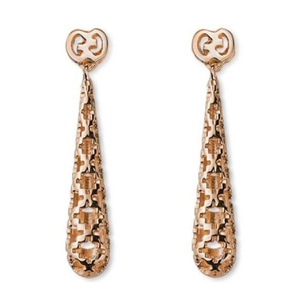 Серьги-подвески Gucci Diamantissima из розового золота с крестообразной перфорацией