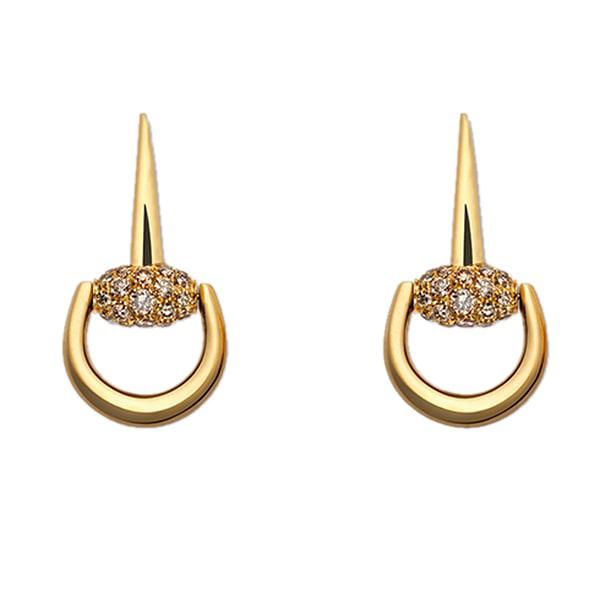 Золотые серьги-подвески Gucci Horsebit с белыми и коричневыми бриллиантами