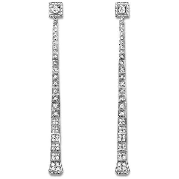 Длинные ровные серьги Gucci Chiodo из белого золота с белыми бриллиантами