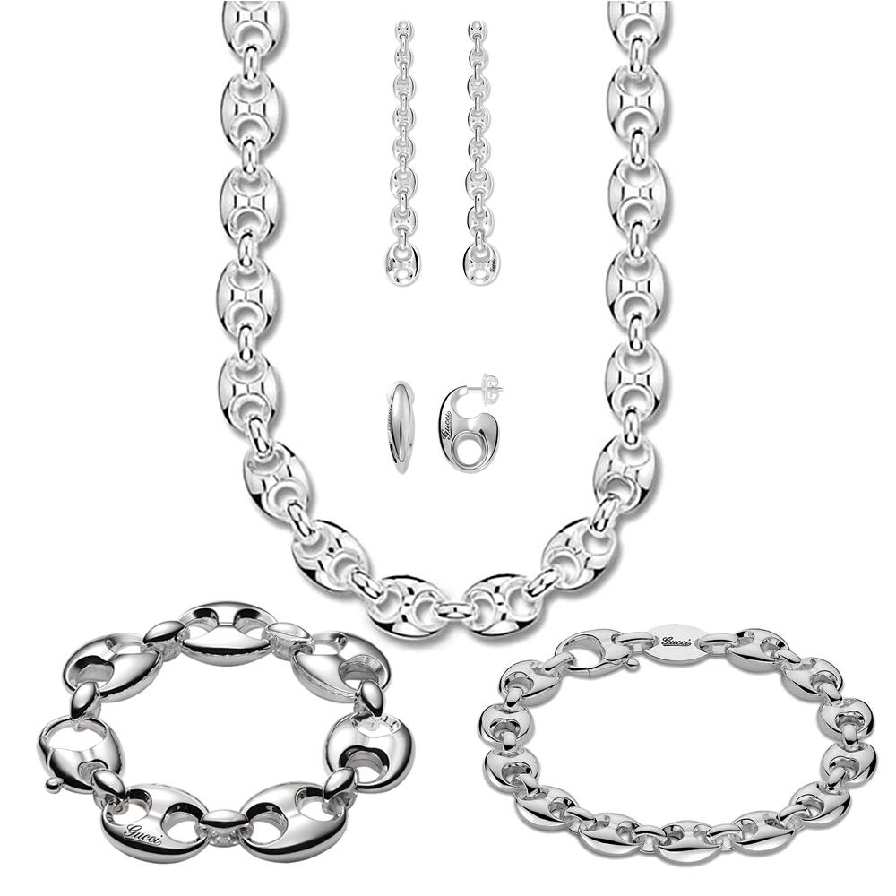 Серьги-гвоздики Gucci Marina Chain с фирменной гравировкой