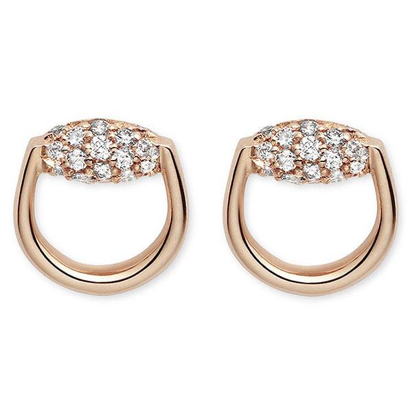 Серьги-гвоздики Gucci Horsebit округлой формы из розового золота с бриллиантами