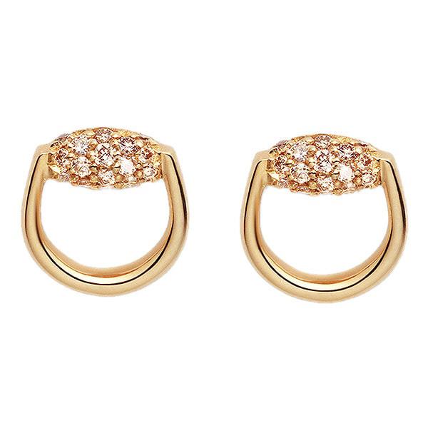 Серьги-гвоздики Gucci Horsebit округлой формы из желтого золота с бриллиантами