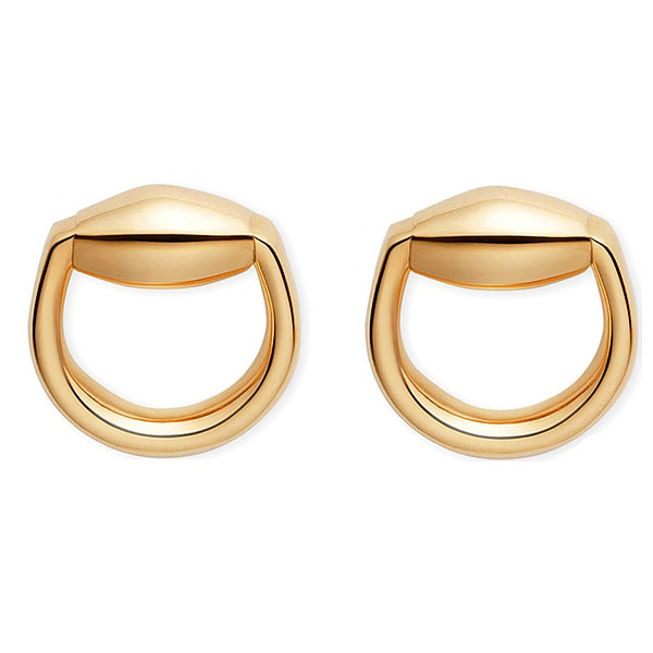 Серьги-гвоздики Gucci Horsebit округлой формы из желтого золота