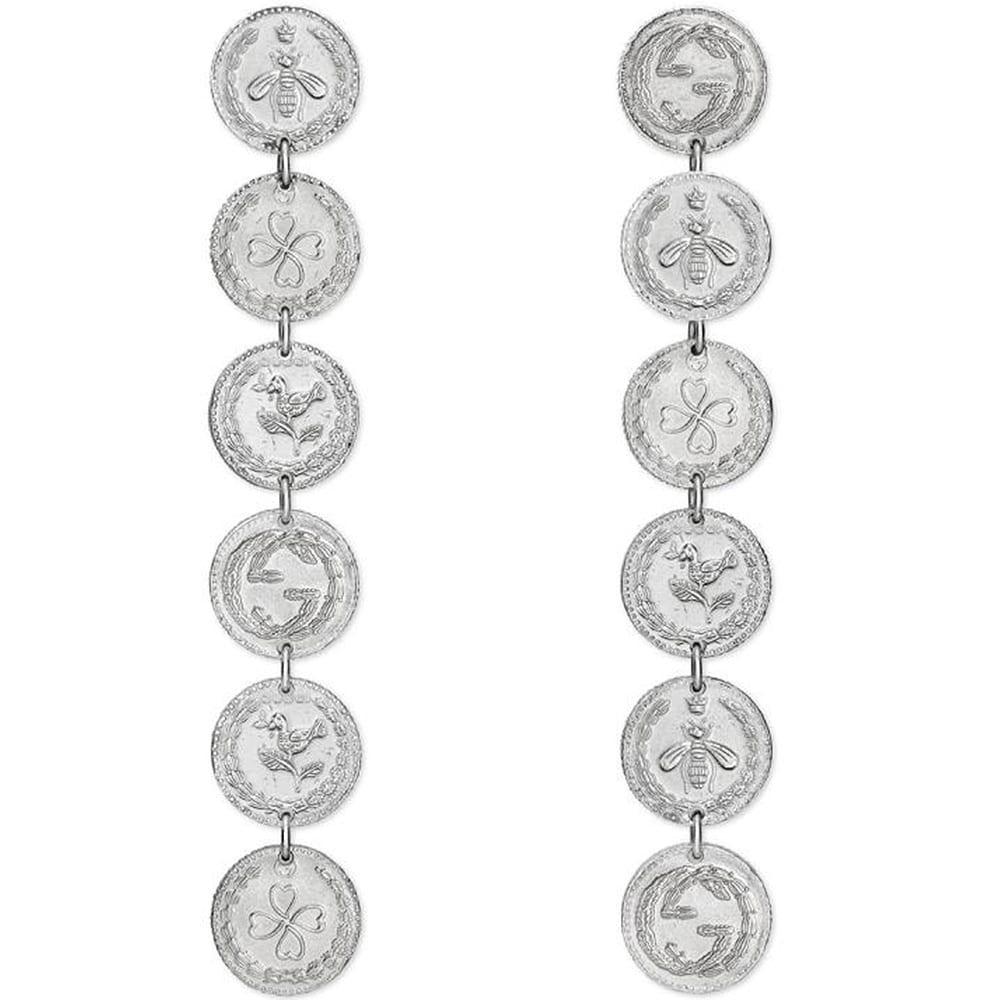 Длинные серьги-подвески Gucci Coin из серебряных монет с фирменным тиснением