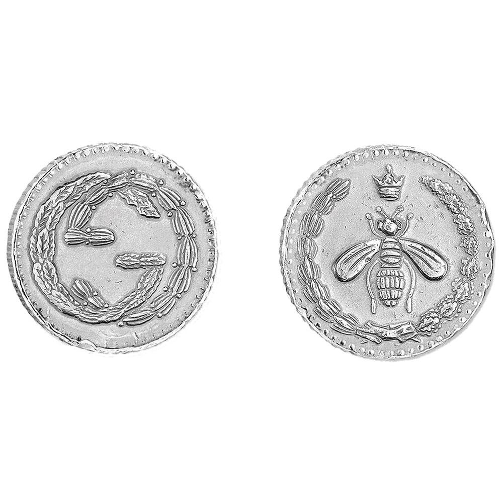 Серебряные серьги-гвоздики Gucci Coin в форме старинных монет с родиевым покрытием