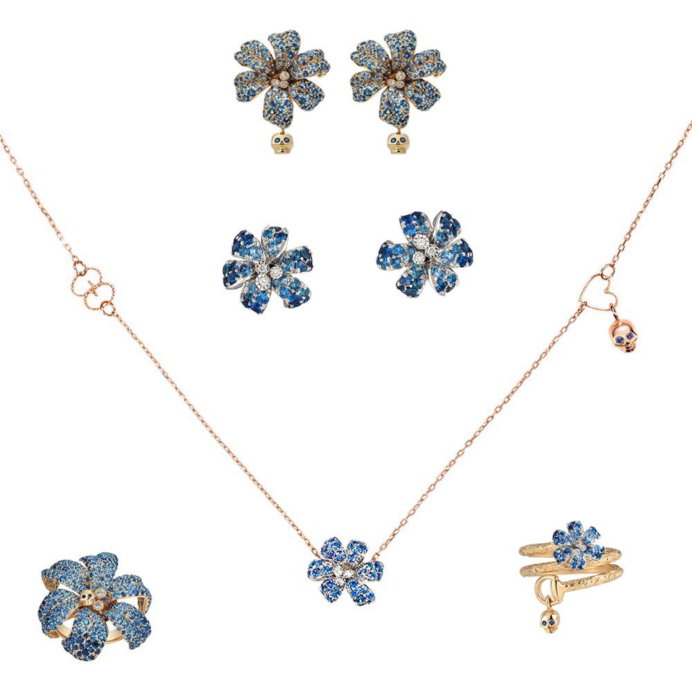 Золотые серьги Gucci Flora в форме цветов с черепами с сапфирами и бриллиантами
