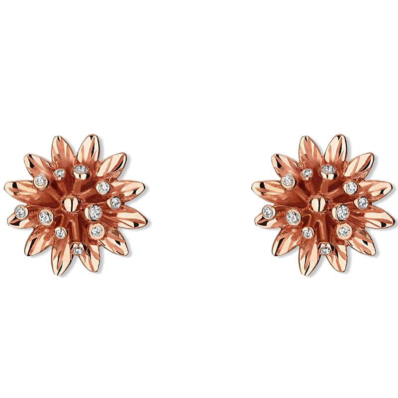 Золотые серьги-гвоздики Gucci Flora в форме цветов с россыпью бриллиантов