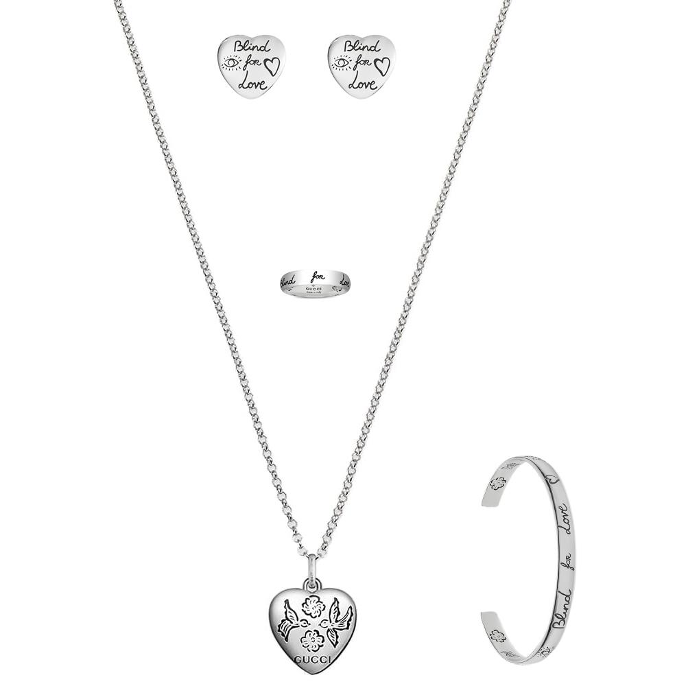 Серьги-гвоздики Gucci Blind for love из серебра с романтичной гравировкой