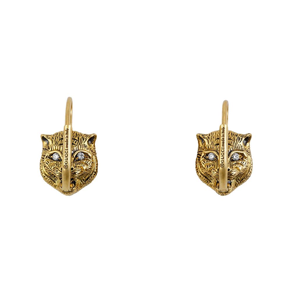Золотые серьги Gucci Le Marche des Merveilles в виде кошачьих голов с бриллиантами и ониксом