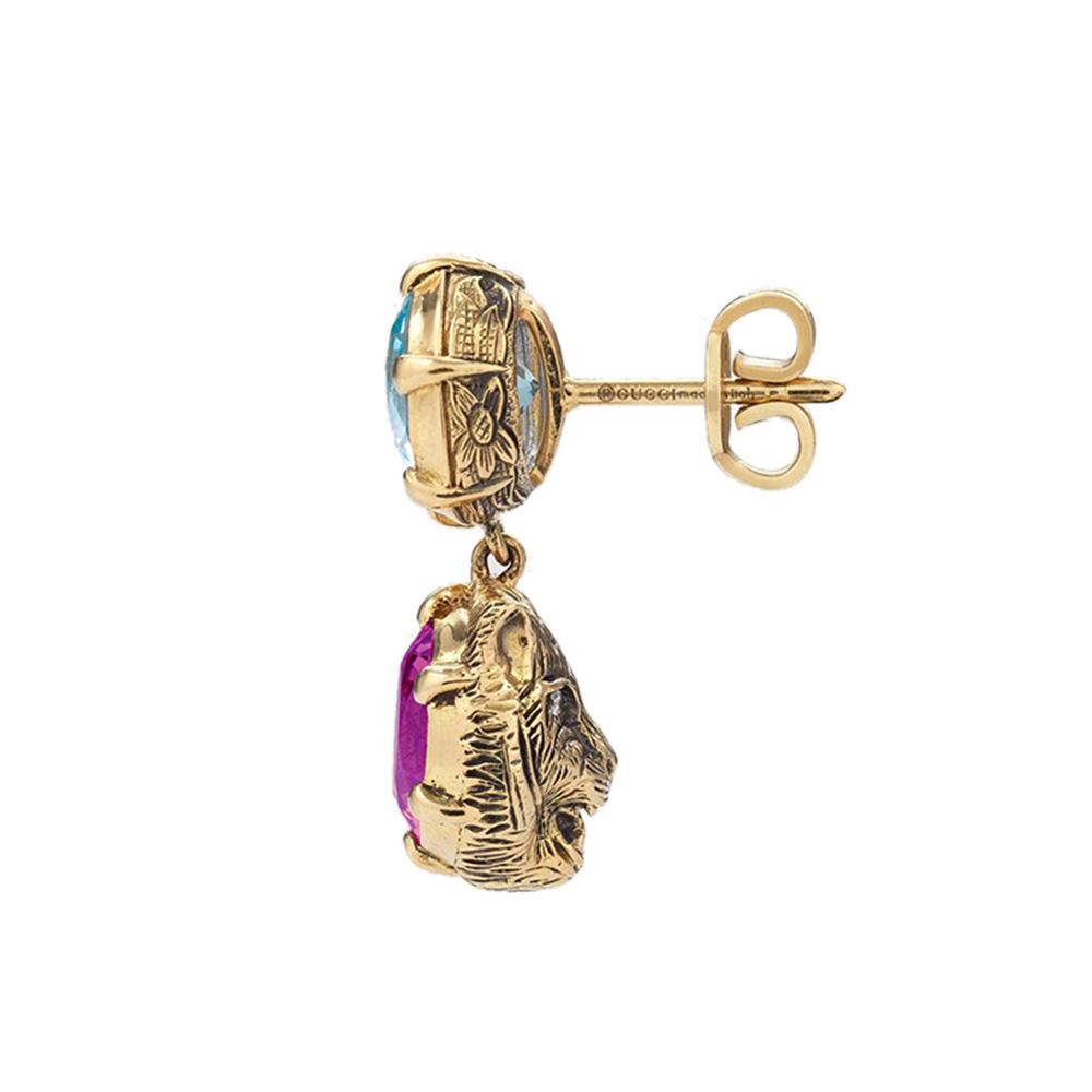 Золотые серьги-подвески Gucci Le Marche des Merveilles в виде кошачьих голов