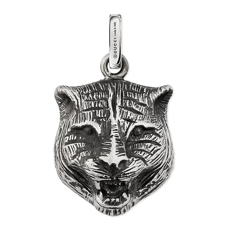Серебряный кулон Gucci Charms с чернением в форме кошачьей морды