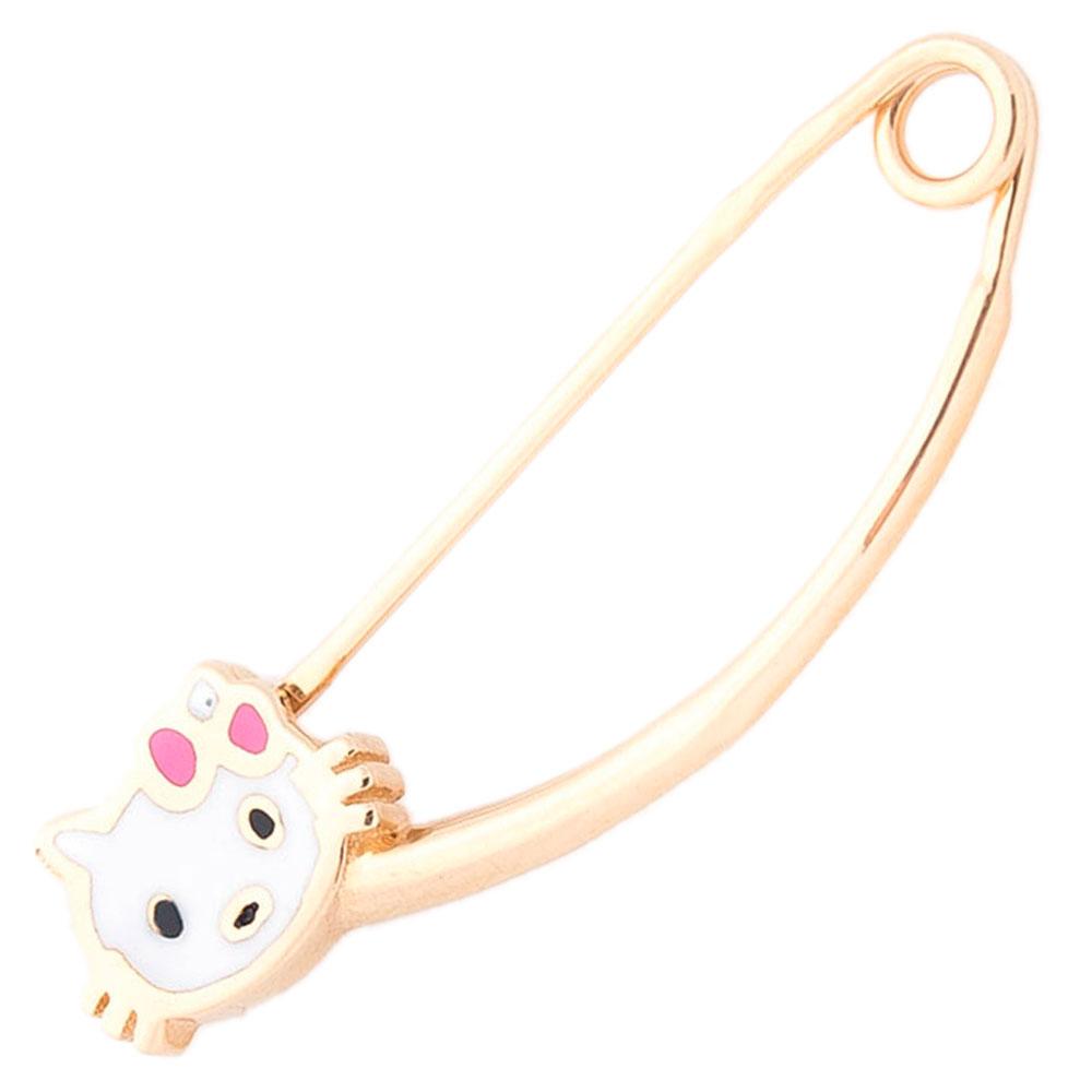 Золотая булавка Hello Kitty с эмалью