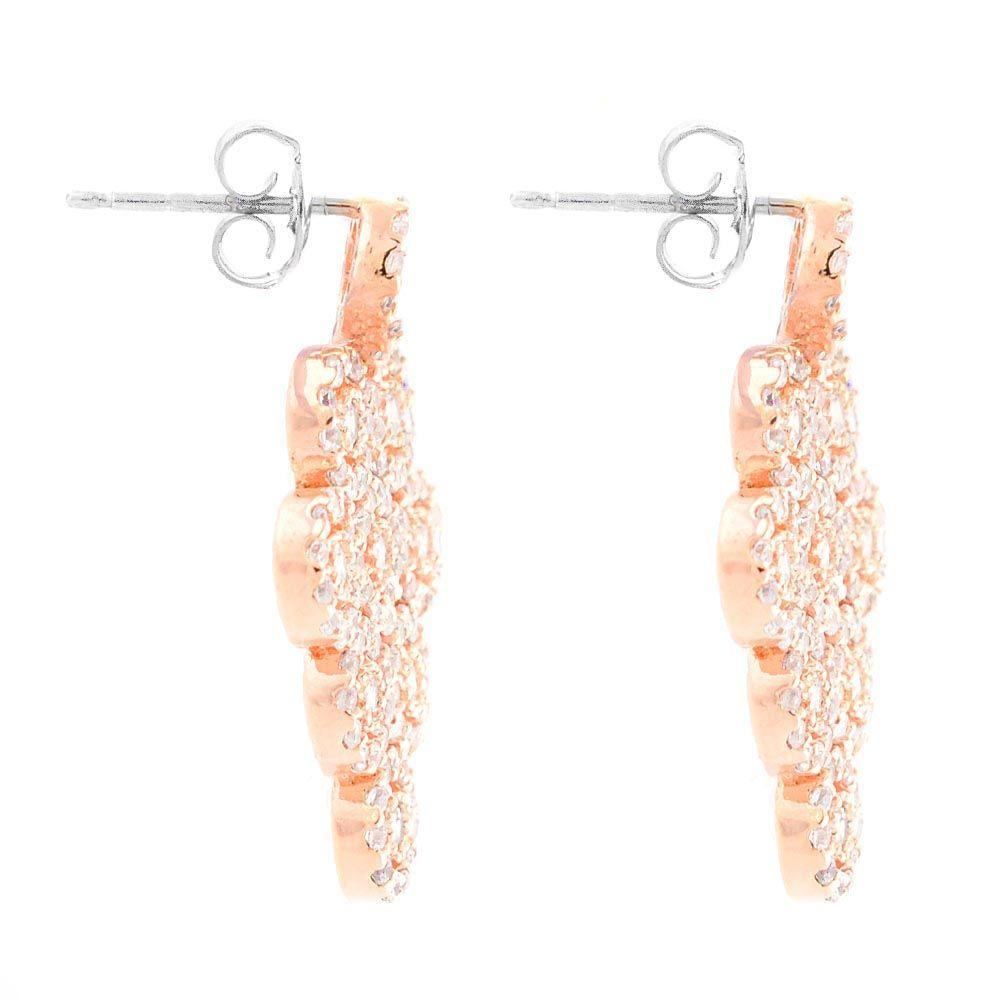 Серьги-пусеты Parure Milano в розовой позолоте и цирконах с подвижными подвесками