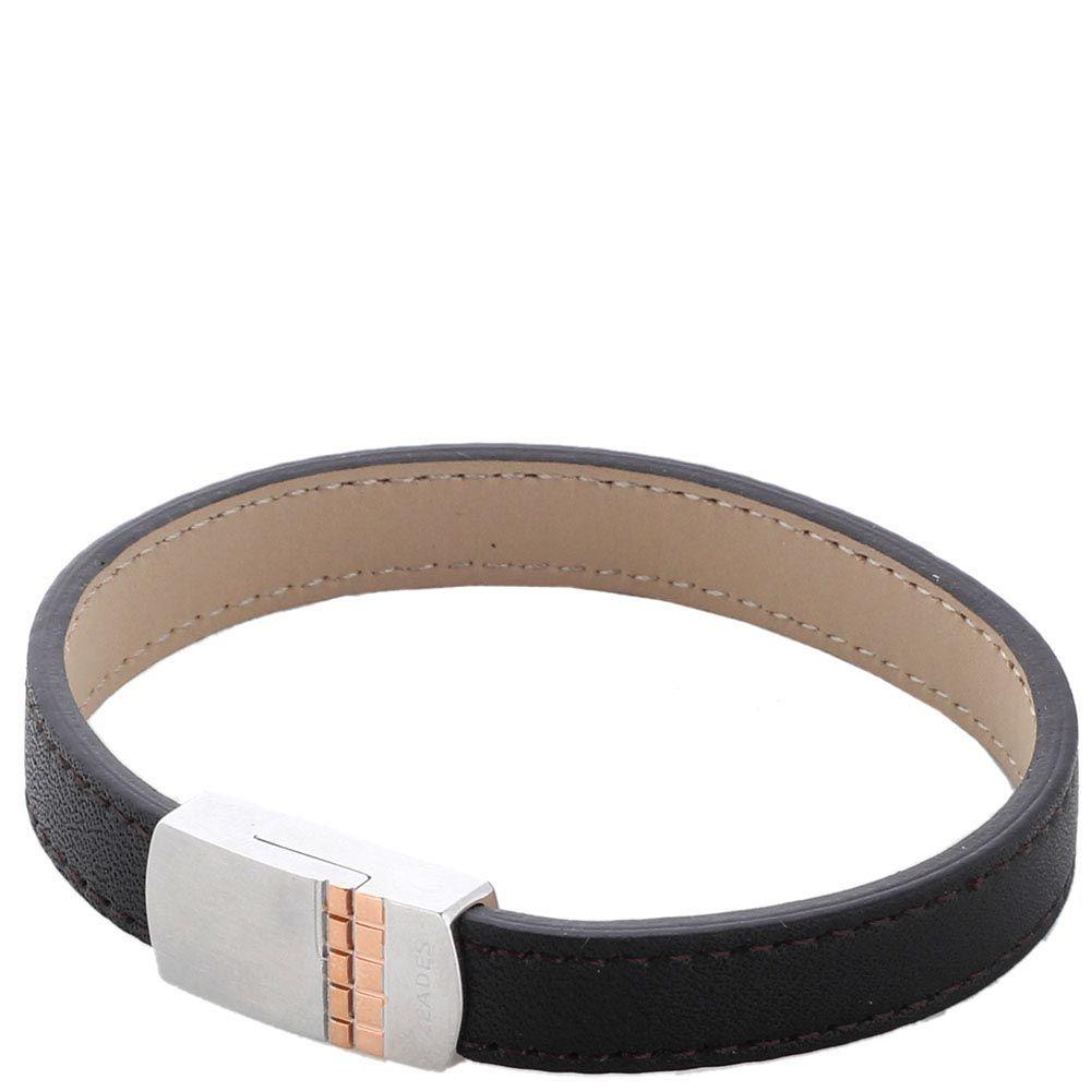 Кожаный браслет ZEADES со стальной прямоугольной застежкой