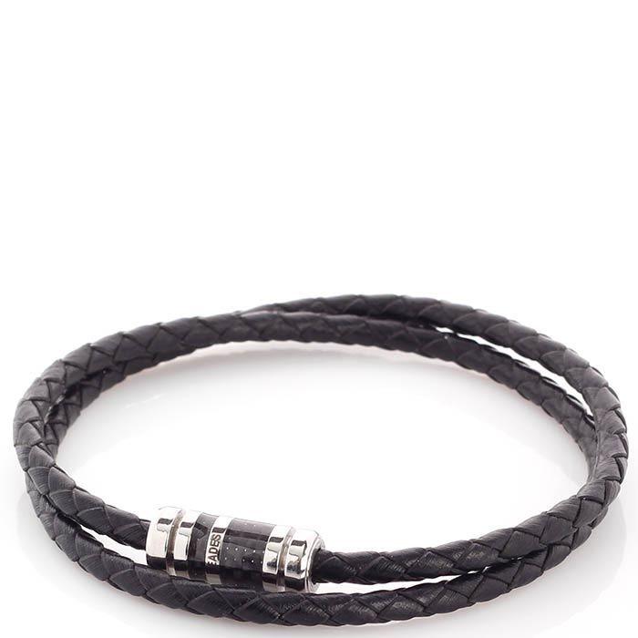 Двойной браслет Zeades из кожи и карбона со стальной застежкой