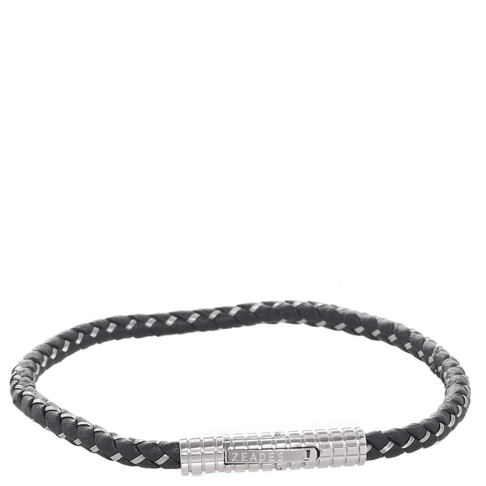 Черный браслет Zeades из плетеной кожи
