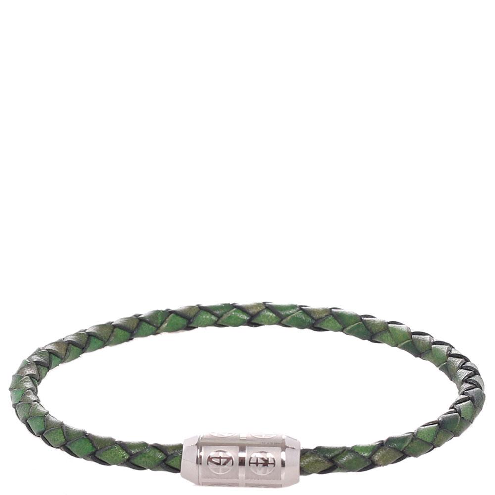 Браслет Zeades из зеленой плетеной кожи
