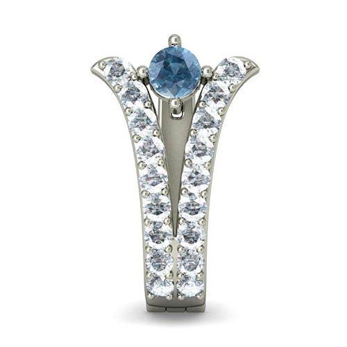 Серьги из белого золота Kiev Jewelry Aunola с аквамарином и бриллиантами 000704-1046334, фото