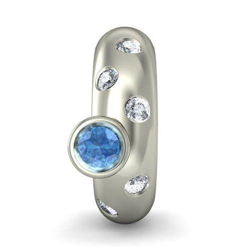 Серьги из белого золота Kiev Jewelry Savina с топазом и бриллиантами 000713-1046364, фото