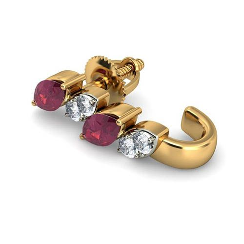 Золотые серьги Kiev Jewelry Veronia с рубинами и бриллиантами 000738-1046442, фото
