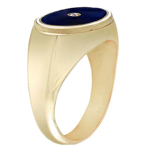 Мужское кольцо-печатка Faberge из желтого золота с бриллиантами, фото