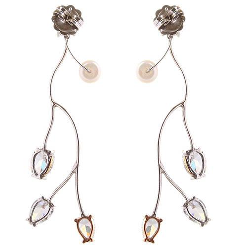 Длинные ажурные серьги-гвоздики Campos с бриллиантами и жемчугом, фото