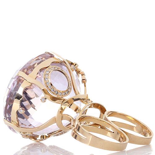 Крупное золотое кольцо на два пальца с бриллиантами Olga Veisberg и крупным аметистом, фото