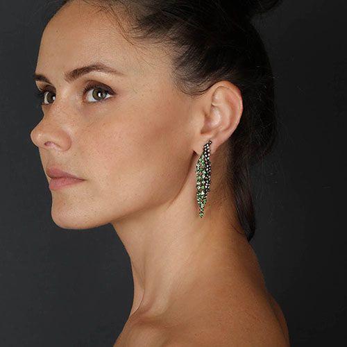 Крупные серьги-подвески Pietre Del Mondo с бриллиантами и цаворитами, фото