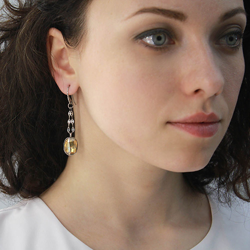 Серьги-цепочки Nomination с подвесками-кристаллами Swarovski желтого цвета, фото