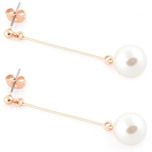 Длинные серьги-пусеты Jewels с перламутровой бусиной позолоченные, фото