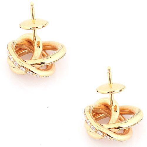Витые серьги-пусеты de Grisogono из золота с бриллиантами, фото
