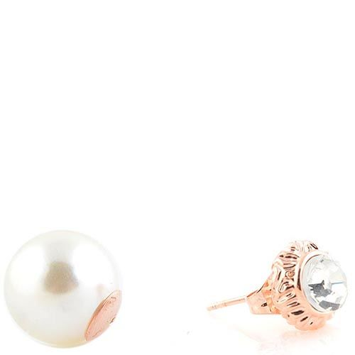 Серьги-пусеты с жемчужной бусиной и кристаллом, фото