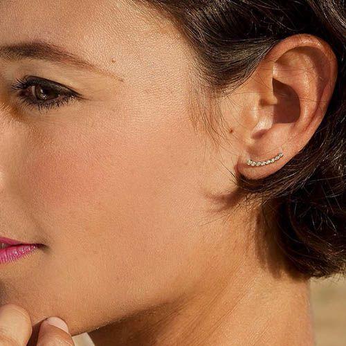 Серьги Aran Jewels с округлой линией из цирконов, фото