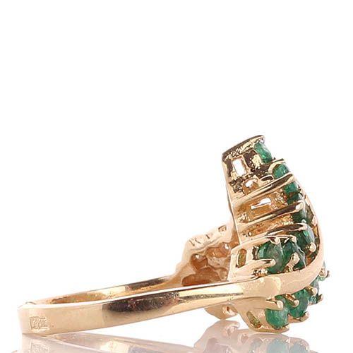 Кольцо из желтого золота инкрустированное изумрудами и бриллиантами, фото