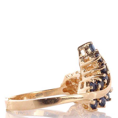 Кольцо из желтого золота в форме веточек с сапфирами и бриллиантами, фото