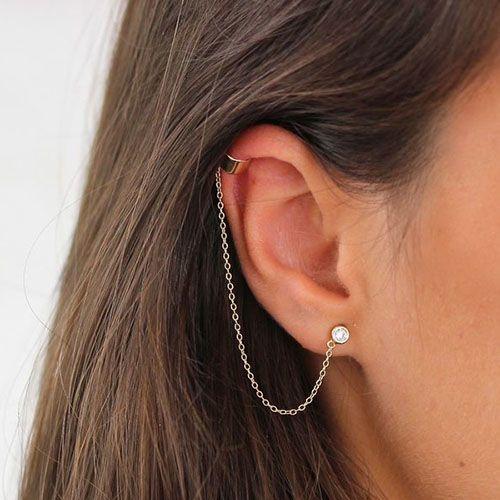 Серебряные серьги-каффы Aran Jewels с цирконами, фото