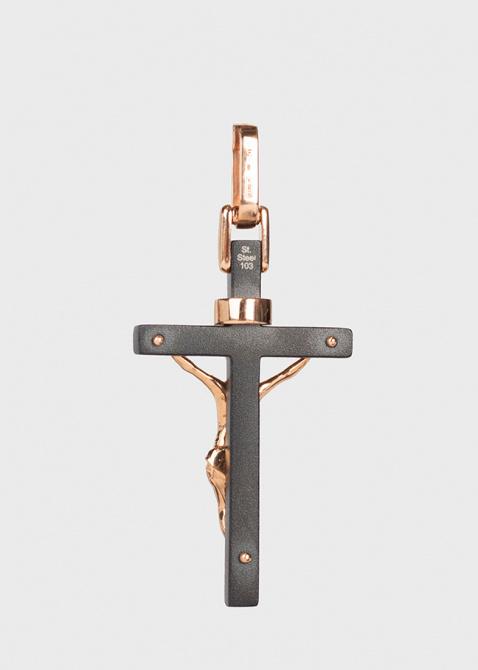 Крест-подвеска Baraka Cyborg Ceramic из розового золота и стали, фото