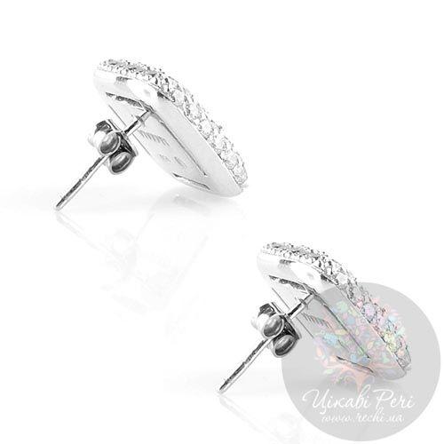 Серебряные серьги-гвоздики Viventy в россыпи цирконов, фото
