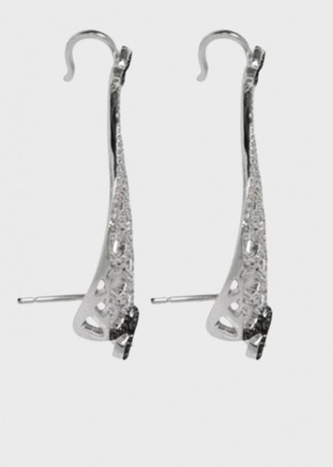 Серебряные серьги APM Monaco сеточкой в цирконах с крестом и лилиями в шпинели, фото