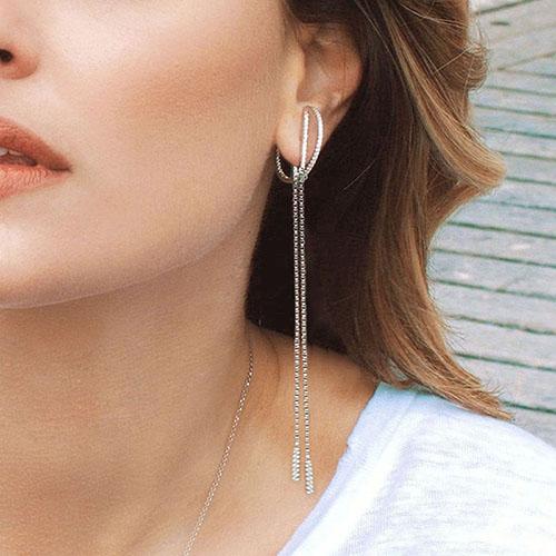 Длинные серебряные серьги-цепочки APM Monaco, фото