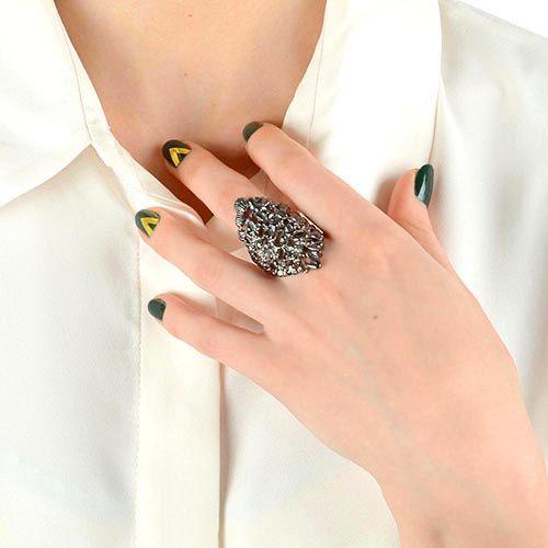 Кольцо Armadoro Jewelry скульптурное с покрытием из черного золота, фото