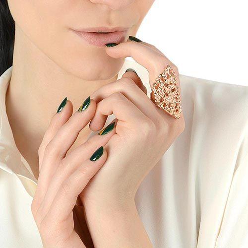 Кольцо Armadoro Jewelry скульптурное покрытое розовым золотом, фото