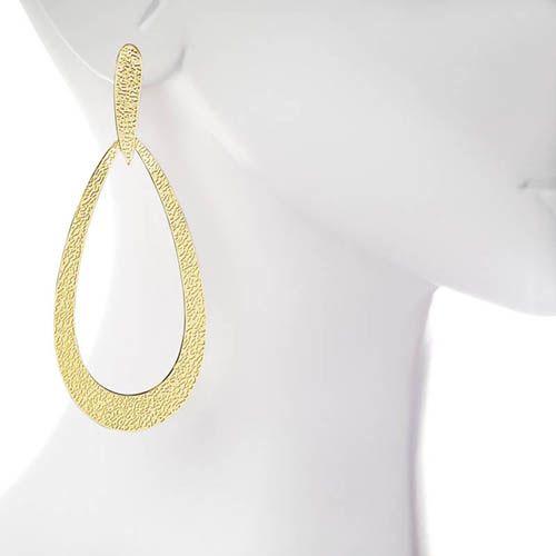 Серьги Armadoro Jewelry плоские в форме капельки с рельефной фактурой, фото