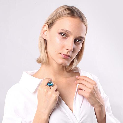 Серебряное кольцо Misis Павлин с обсидианом , фото